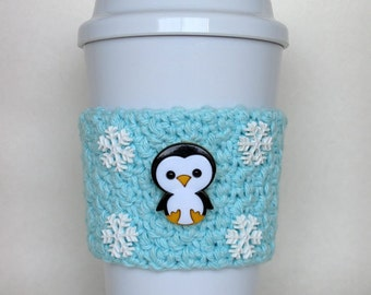 LIMITED EDITION: Penguin Snowflake Crochet Coffee Cup Cozy