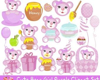 Bear Girl Lilac Clipart Set