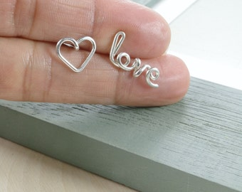 Love and Heart Earrings, Personalized Sterling Silver Wire Name Earrings, Cursive Earrings, Bridesmaid Gift, Valentine's Day Gift, Birthday
