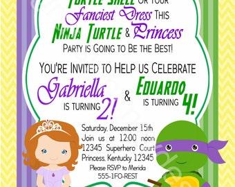 Sophia and Ninja Turtle- Brother, Sister, Twins Birthday Party Invitation