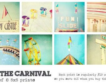 At The Carnival - Set of 8 5x5 photography prints fair rides whimsical fun home nursery decor wall art colorful bright festival summer bokeh