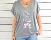 No Mud, No Lotus  ~  Poncho Graphic Tee Shirt w/ Hood  ~~  One Size Fits All