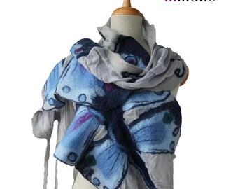 SALE! nuno felted scarf, grey with blue butterflies silk felt nunofelted handmade designer scarf, felted art shawl, felted artistic wool