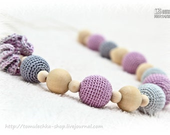 Crochet nursing necklace in lavender and gray, chew beads Crochet breastfeeding necklace Valentine's Gift