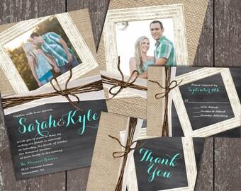Chalkboard Wedding Invitations, Photo Wedding Invitations, Chalkboard and Burlap, Shabby Chic Invitations