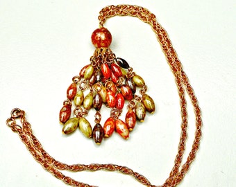 Bead tassel necklace Colorful Pink Cream and grayish beads