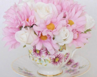 Teacup Silk Floral Arrangement, Small Light Pink Daisies and White Rosebuds in a Vintage Teacup, Artificial Flower Arrangement, Silk Floral,