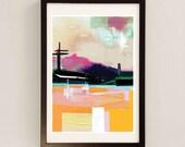 Mixed Media Collage Art by Award Winning UK Artist / Yellow Wall Art / Abstract Landscape