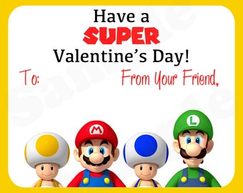 Super Mario & Friends Printable Birthday Valentines day / Birthday Gift Tags, Stickers, Treat Labels - DIY File