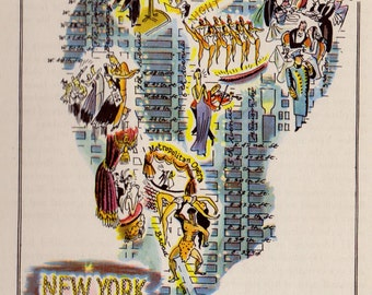 1946 Vintage MANHATTAN Cartoon Map Antique New York City Picture Map OPERA Dancing Night Clubs Gift for Anniversary Wedding Birthday 8107