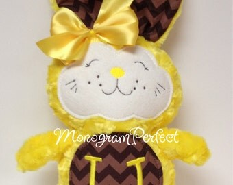 Personalized Bright Yellow and Brown Chevron Bunny