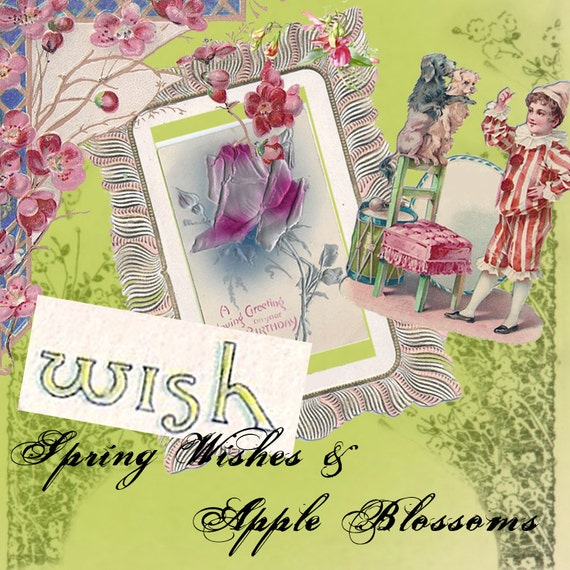 Spring Wishes and Apple Blossoms- Vintage Digital Images - Instant Download