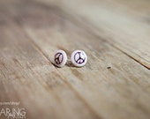 A Little Peace Earrings -- Mixed Media post earrings featuring original peace sign graffiti photograph on polymer clay