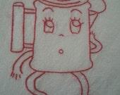 Floursack Dishtowel - Hand Embroidery - Redwork Coffee Pot