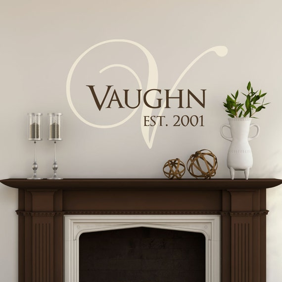 family last name monogram personalized custom wall decal. Black Bedroom Furniture Sets. Home Design Ideas