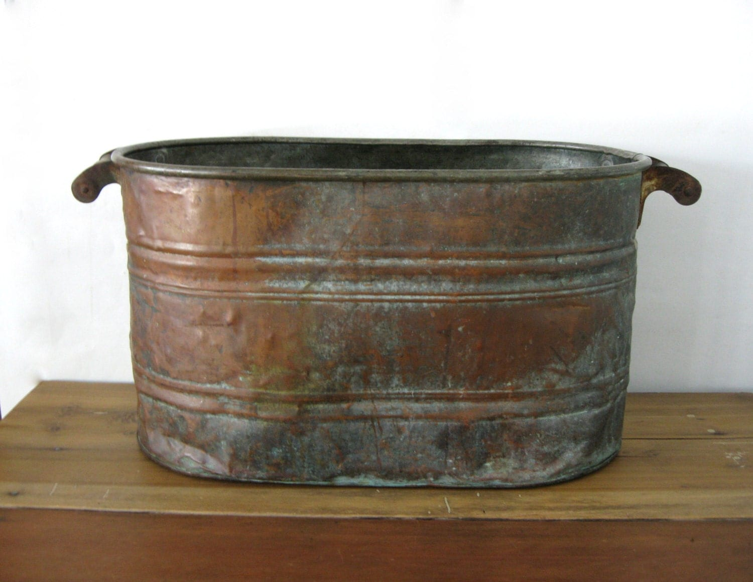 Antique Copper Boiler Large Copper Wash Tub Copper Bucket