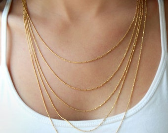 Multi layered gold chain necklace - bridal jewelry - gold bridal necklaces - layering jewelry - wedding jewelry
