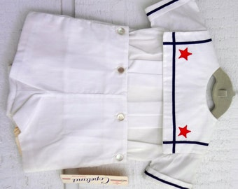 Vintage Sailor suit in white with stars- Size 12 months-  New, never worn