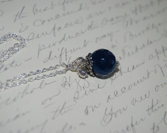 Navy Blue Agate Stone Necklace