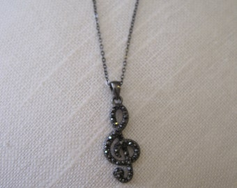Hematite Music Note Necklace - Rhinestone Music Note Necklace