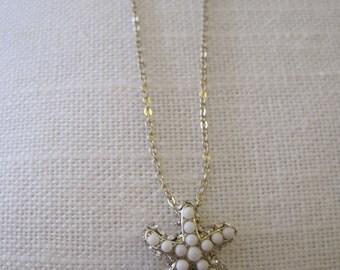 White Beaded Gold Rhinestone Starfish Necklace - White and Silver Starfish Necklace