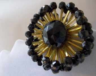 1940's Golden Bugle Beads & Black French Jet Glass Bead ATOMIC STARBURST BROOCH/ Black n Gold Fashion Brooches/ 1940s Fabulous Bead Brooches