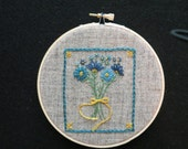 Hand Embroidered Flowers in Hoop, Hoop Art, Embroidery Art, Hand Embroidery, Stitchery, OFG, FAAP, Blue Flowers