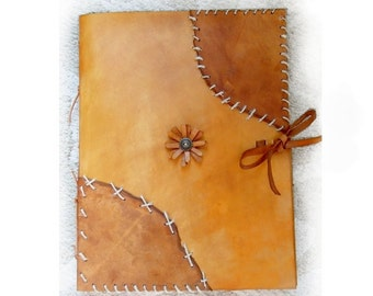 """Leather Sketchbook, Refillable, Sketchbook, Large - """"Native American"""", sketch book, Journal, Guest Book, Leather Bound, drawing book"""