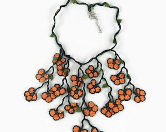 Crochet Necklace Dangling Oya Flowers crochet statement Necklace, Orange and black, Vegan friendly Bohemian Jewelry, Christmas Gift Ideas fo