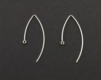 Sterling Silver Open Marquis Ear Wire Elegant Modern Shape Jewelry Component Finding, 1 PIECE (SS/699/14x35)