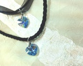 Blue Valentine Necklaces With Swarovski Crystal Hearts on Ribbons or Twisted Cord