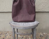 Burgundy red genuine leather tote bag with repurposed military handle