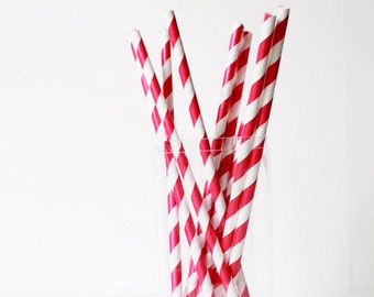 Dark Red Striped Paper Straws (25) Striped Paper Straws-Red Wedding Straws-Party Straws-Paper Straws- Red Decor