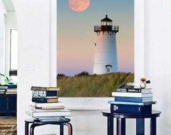 Large Photo Print, Beach Decor, Coastal Wall Art Lighthouse Photography Martha's Vineyard Picture Large Art Oversized Print Blue Purple Pink