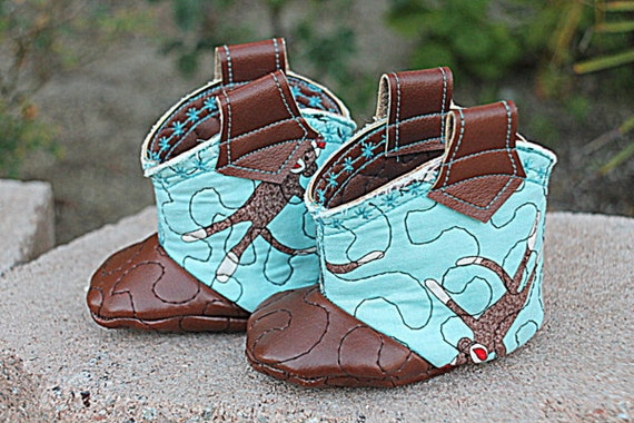 Vegan Baby Cowboy Cowgirl Boots | Sock Monkey Booties Shoes size 3 to 6 months.