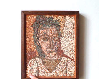 wall art mosaic / rust, ivory green /  stone mosaic / picasso inspired / portrait / antique mosaic / art / italian art handmade mosaic