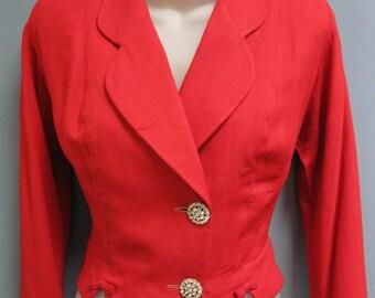 Vintage 1950's Red Linen Crop Jacket Peplum Rhinestone Buttons