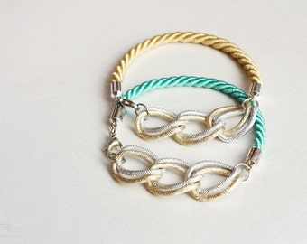 golden rope chain bangle - stackable bracelet, mixed metals jewelry / christmas gift for her under 25usd