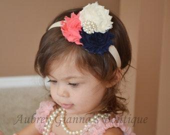 Baby headband, Navy and Coral Hair bow, newborn headband, baby headbands, infant, hair bow, newborn photo prop, baby girl headband