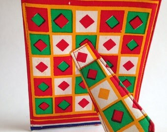 red . PICTURE FRAME  //  Colorful tribal vintage cloth picture frame