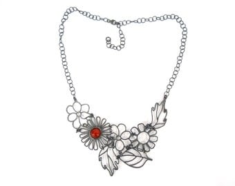 Garden Necklace-  4 flowers and 3 leaves- silver / black