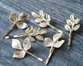 Boho Gold Leaves Bridal Hair Pin Set,Vintage Leaf Wedding Hair Pin,GrecianLeaves Hair Pins,Gold Wedding Bobby Pins,Gilded Leaves Bobby Pins