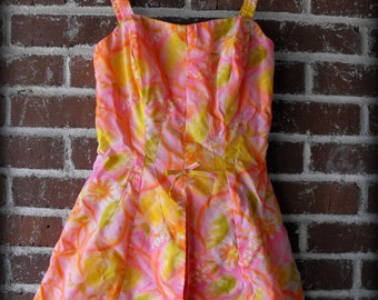 Vintage 1960's Muriel Playsuit Swim Romper Pink and Yellow Floral Small-Med