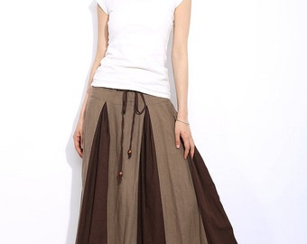 Ethnic  linen long skirts C332