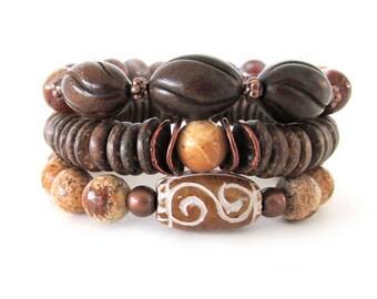 Beaded Stretch Bracelet Stack - Burnt Horn and Agate Bracelet - Gemstone Bracelets - Gifts for Her - WS1526
