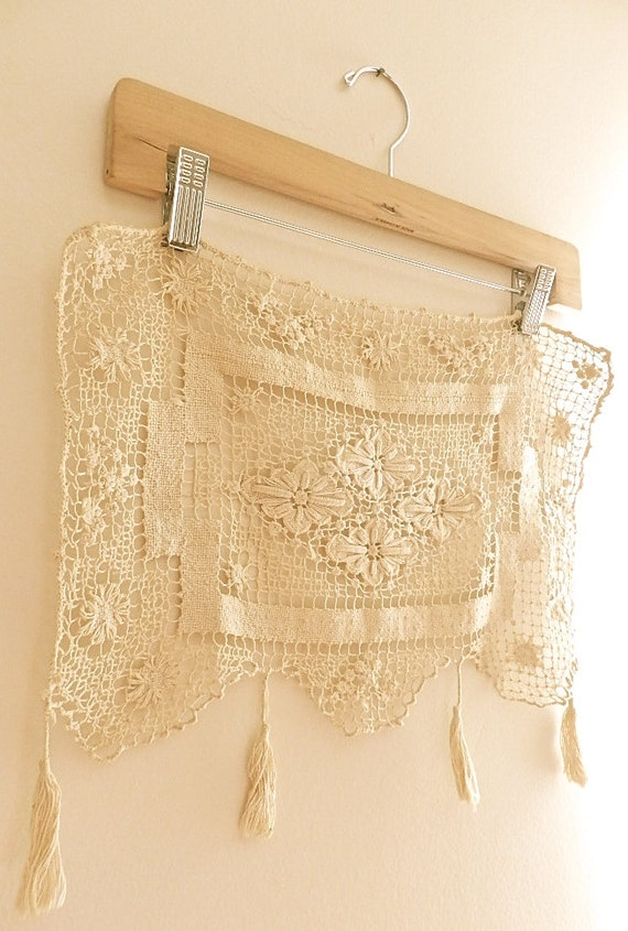 Vintage Crochet. Window Valance. Table Doily. Cottage Home. Vintage ...