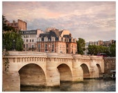 Paris print, city view photography, Pont Neuf, large wall art poster, lilac beige living room decor, 11x14,16x16 print, 20x20, 24x24, 20x24
