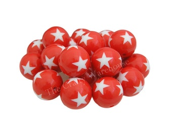 Patriotic Star Chunky Beads   20mm   4th of July Star Beads   Acrylic Printed Beads   American Flag Beads   DIY Chunky Necklace
