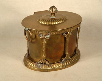 Brass Container Box Hand Crafted Hollywood Regency Oval