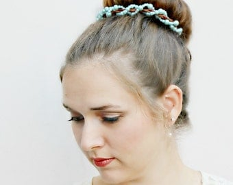 CENDRILLON - beaded pearl Bun Belt in Cinderella blue, Something Blue, bridal accessories, wedding hair accessories, pearl hair clip, pearls